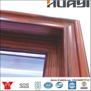 Janela de alumínio Awing feitas por 6.063-T5 Cor de madeira de pintura a pó