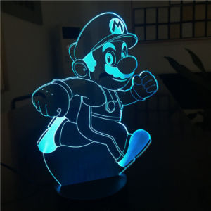 Оптовая торговля Super Mario формы с одной спальней и декоративные красочные 3D-светодиодные лампы в ночное время