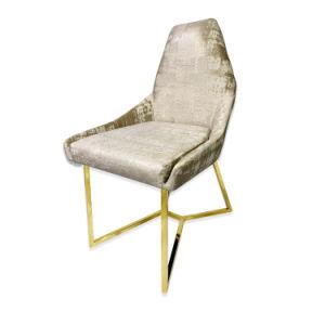 Mobiliario de sala de estar silla de ocio con comedor de acero inoxidable dorado Silla de comedor