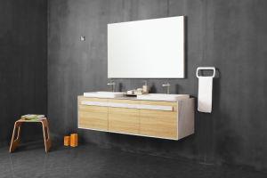 Bss1500*500*450mm, Ijdelheid van de Badkamers van het Nieuwe Product van de Oppervlakte van het Kabinet Cutomized de Stevige Muur Gehangen Moderne