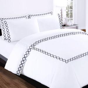 Ropa de cama de lujo Funda nórdica cubierta de la Almohada cama Queen Size 100% algodón conjunto de ropa de cama de hotel