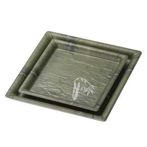 Dîner de la vaisselle Ware Surface mate vert bambou coffre en plastique durable de la mélamine plaque carrée de 8 pouces