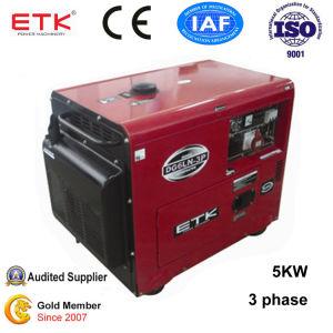 Sicherer und zuverlässiger schalldichter Generator 5kw (dreiphasig)