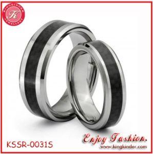 De zwarte Ring van het Paar van het Titanium van het Inlegsel van de Vezel van de Koolstof (kssr-0031S)
