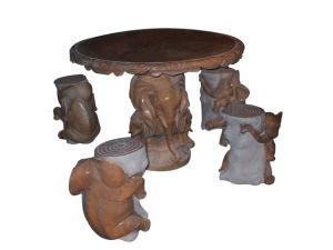 大理石のCarving Elephant TableおよびChair Set