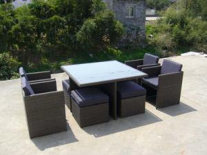 Современные плетеной/плетеной стул и квадратной таблице патио с садом садовой мебелью