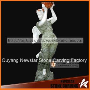 Linda Menina Anjo Estátua esculpida a mão pelo mármore colorido