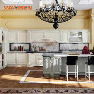Cucina di legno di lusso standard americana su ordinazione dell'armadio da cucina di legno solido, armadi da cucina tradizionali acquistabili