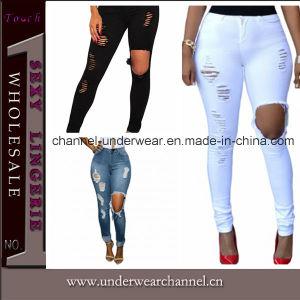 Mode féminine taille haute Legging rippés Skinny Jeans (T78644)