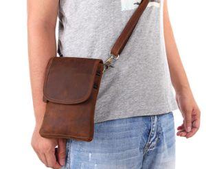 Карман для мобильного телефона из кожи в стиле ретро креста органа сумка мини-повседневный Crazy Horse мужчин сумка из натуральной кожи