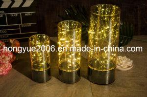 Mesa de cristal decorativas de navidad con micro de la luz de la cadena de luz LED
