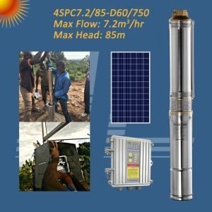 1HP de 750 W de Energía Solar de bomba de acero inoxidable con MPPT Controlador, bomba de pozo profundo
