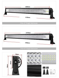 3-rij 5 de Lichte Staaf van het Werk van de Straal van de Vloed van de  12  16  20  22  23  34  42  52  Rechte Gebogen LEIDENE Lichte Offroad LEIDENE van de Staaf Vlek van de Staaf 12V 24V
