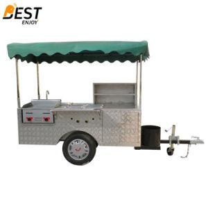 Móvil de acero inoxidable Hot Dog carro con la barra de remolque