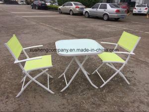 El acero de 3 PCS Conjunto de mobiliario moderno en la tabla+sillas