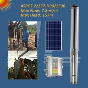 4 pulgadas 2HP 1500W Solar bomba sumergible centrífugo, pozo profundo bomba, bomba de pozo