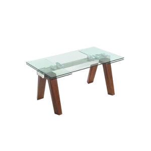 Una extensión moderna de madera maciza de cristal mesa de comedor de banquetes para Restaurante