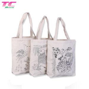 백색 동물성 패턴 지퍼 클립 다중층 학생 쇼핑 면 끈달린 가방