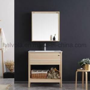 Loiça sanitária Lavatório armário de casa de banho privada vaidade MDF e madeira maciça com espelho para casa de banho