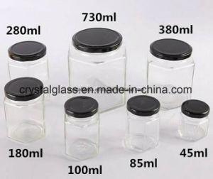 45ml 85ml 100ml 180ml 280ml 380ml sechseckige Nahrungsmittelglashonig-Glas mit Metallöse-Kappe