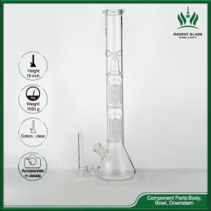 De 18 pulgadas de doble capa clara vaso de precipitados de árbol de la parte inferior del tubo del brazo de fumar narguile Pipa de Agua