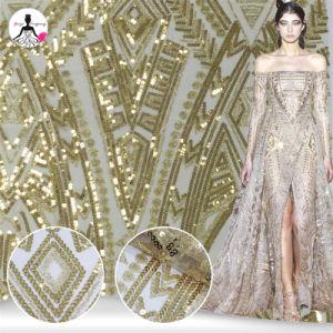 La mujer vestido de bodas de oro Sequin bordados el bordado de encaje tejido de malla