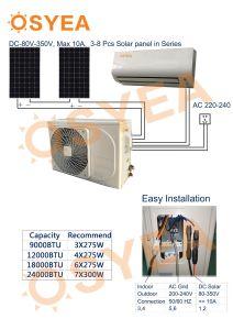 100 % Osyea solaire hybride Climatiseur Split AC-DC-pure de l'onduleur