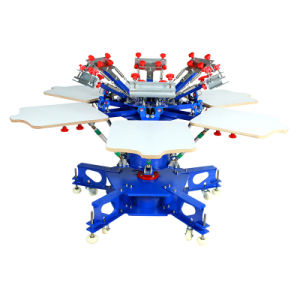 Type de sol Six Six stations couleur Double Machine d'impression de l'écran de roue