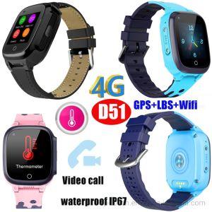 4G видео вызов новой Lanuched 4G/LTE термометр подарочные часы GPS Tracker D51
