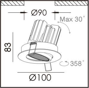 El calor empotrables de techo fijo foco LED LED de luz hacia abajo IP44.