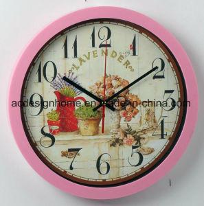 Migliore orologio di parete rotondo giallo decorativo poco costoso di vendita con il disegno del negozio di fiori delle lavande