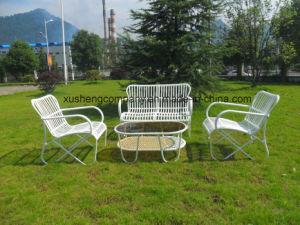 Modernos muebles de exterior de acero inoxidable juego de mesa y sillas de mimbre sofá exterior