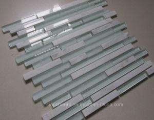 China Weißer Kristallglas Fliese Streifen Backsplash Glasmosaik Fliese