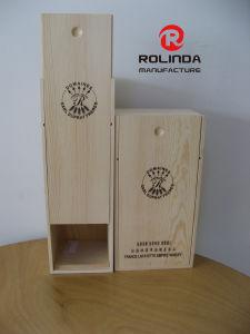 Comercio al por mayor sola botella caja de embalaje de madera para vinos