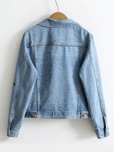 2017년 로즈 자수 단 하나 Breasted 여자 데님 재킷