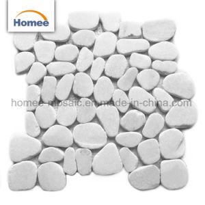 Красивый дизайн белого цвета мраморной мозаикой Пебл камня плитки