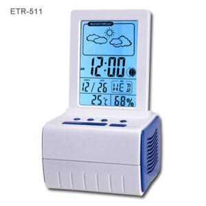 Orologio della stazione di bollettino meteorologico di musica con la lampadina dell'aurora (ETR-511)