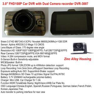 Novas ligas de zinco 3.0Inch Full HD1080p Carro Caixa Preta com 2CH Carro Câmara, espelho, Ângulo de visualização de 170 graus, HDMI, saída AV Car DVR-3007