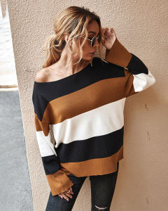 Осенью и зимой High-Quality новый стиль контраст полосатый пуловер моды