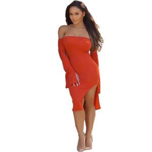L36262 hombro rocío parte naranja de mezclas de algodón vestido de la longitud de la rodilla