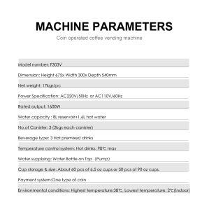 Ordinateur de bureau vending machine à café de poudre instantanée F303V