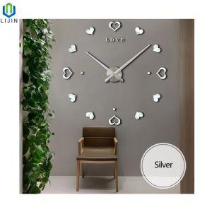 Acrílico creativo en forma de corazón Salón Moderno Reloj de pared Reloj de pared DIY