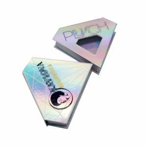 Boîte de papier de holographique avec miroir pour le vison cils de qualité supérieure