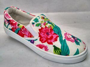 Lienzo de inyección botas casuales Zapatos de lona de patrón de flores para la Mujer (6017)