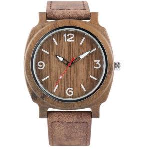 Madera Mens Watch Retro Pulsera de madera de bambú de los hombres Relojes de Pulsera Reloj de cuarzo natural masculino Casual exclusiva textura de la Lear Pj -209 horas