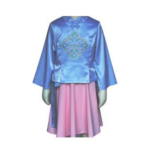 青いピンクのSoildカラーBowknotのマンダリンカラー学生服の女の子の子供はSmockedのサテンの服を刺繍する
