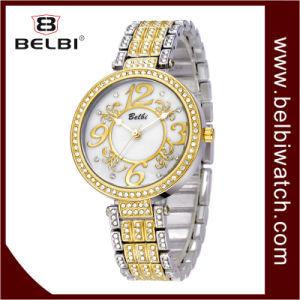 Reloj elegante de lujo de la joyería de la marca de fábrica del análogo de cuarzo de las señoras de Belbi
