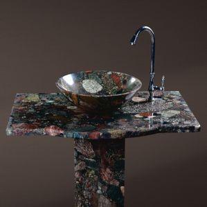 Meuble-lavabo en marbre coloré Cuisine main ronde des bassins de lavage/Stone lavabo pour Hotel salle de bains