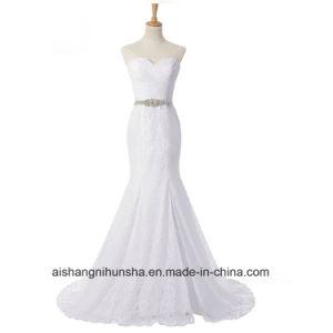 Elegantes Rhinestones-Schatz-Nixe-Spitze-Hochzeits-Kleid