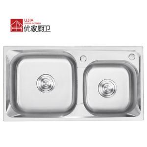Clique duas vezes em aço inoxidável da câmara Pressione Pia com torneira Cozinha Ware pia (7239C)